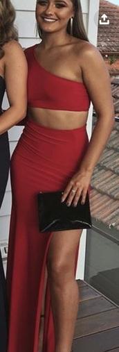 dress,red prom dress,teo piece set,one shoulder,slit skirt