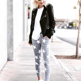 pants joggers pants joggers grey white stars