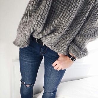 sweater grey grunge pretty girly fashion jeans belt top grey sweater fluffy black dress shorts bikini knitted sweater wool winter sweater denim dark denim warm sweater comfy blouse
