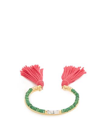 cuff tassel gold green jewels