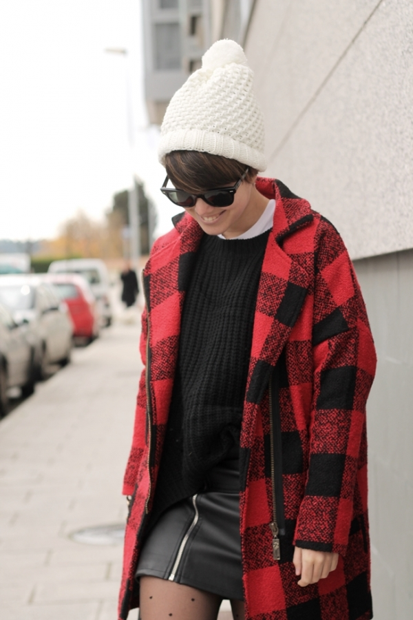 Notched Collar Plaid Coat - OASAP.com