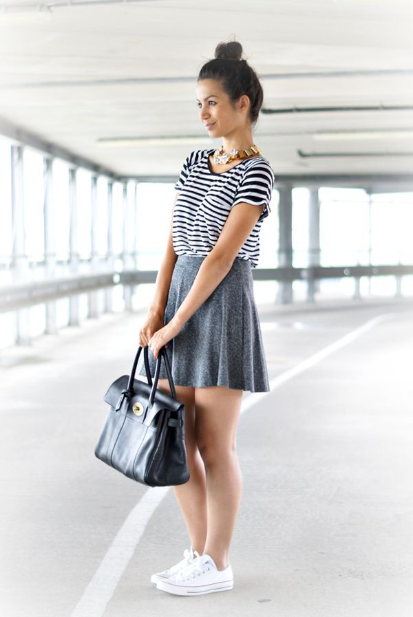 skirt bun top knot bun t-shirt striped t-shirt skater skirt grey skirt black bag bag sneakers white sneakers