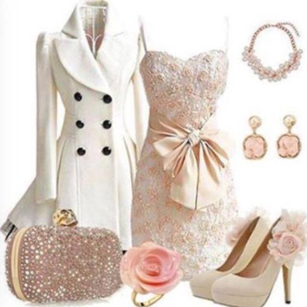 dress bow glitter dress white dress pink flowers knee length dress