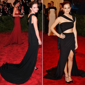 Emma watson black cutout prom dress 2013 met ball red carpet