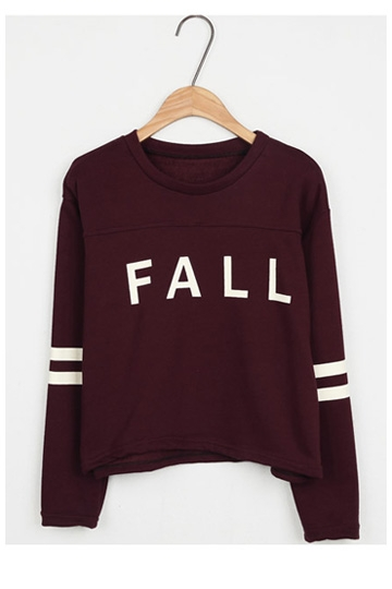 Symmetrical Stripe Fall Print Pullover [FOBK00126]- US$ 13.59 - PersunMall.com