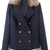 ROMWE | Lapel Fake Fur Buttoned Dark-blue Coat, The Latest Street Fashion