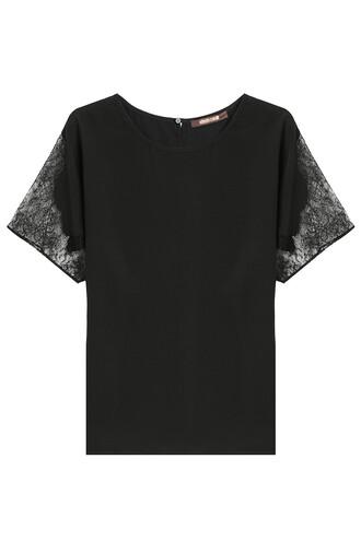 top lace silk black