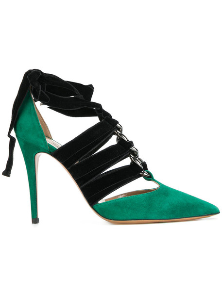 Valentino ankle strap women pumps leather suede velvet green shoes