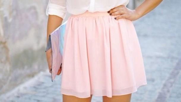 skirt pink shirt