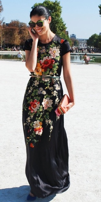 dress embroidered maxi dress floor length long dress cap sleeves floral embroidery floral silk black silk silk dress navy flowers maxi black dress black maxi dress floral dress embellished dress formal dress summer dress fashion black aztec embroidered flowers