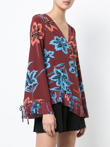 blouse pleated long women silk red top