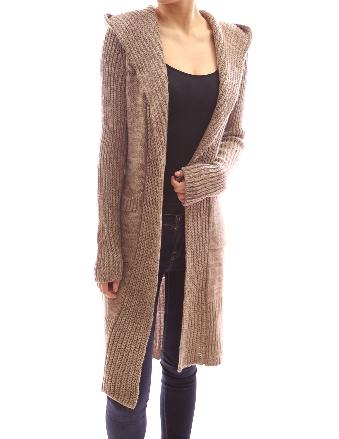 Women'S Long Hooded Sweater - Cardigan With Buttons