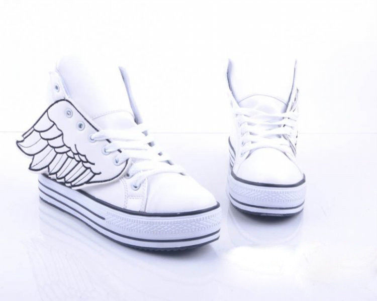 Hot Woman's Angel Wings Shoes with Large Base White High Shoes | eBay