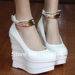 Gratis verzending! Damesschoenen wiggen schoenen enkele korte geplooide sexy bandage platform hoge  hakken
