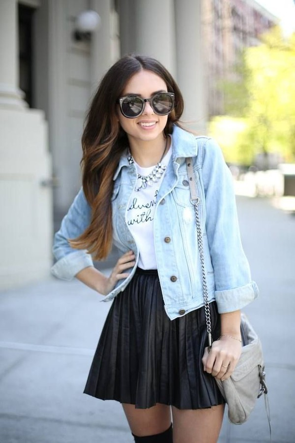 jacket white graphic t-shirt black pleated skirt beige handbag sunglasses blogger