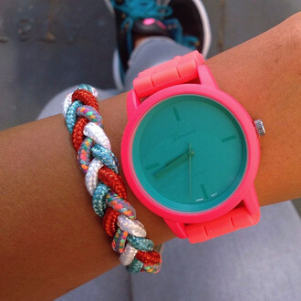 jewels colorful watermelon coral bracelets stacked jewelry braided braids silicone