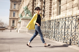 frassy blogger jeans loafers yellow coat