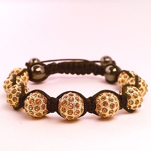 Gold bracelet shamballa 11 piece beads crystal disco ball micro pave jewelry usa