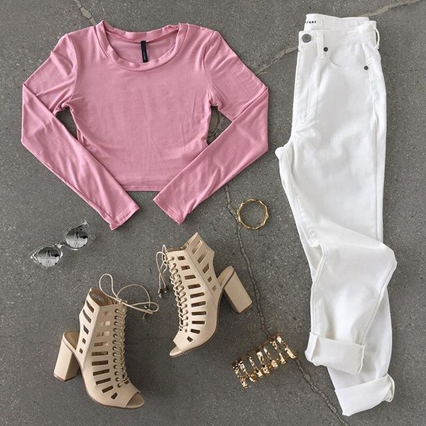 top heels chunky sole chunky heel sunglasses crop tops sunnies white pants white jeans jeans gold gojane