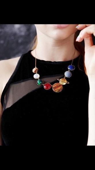jewels necklace jewelry space galaxy jewelry planets