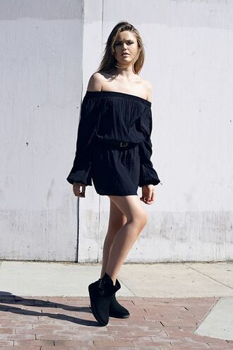 dress black off shoulder dress black dress off the shoulder off the shoulder dress mini dress short dress long sleeve dress summer dress summer outfits boots black boots all black everything kristina bazan kayture blouse top blogger lifestyle puffed sleeves bardot dress