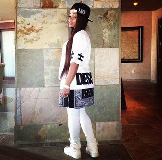 t-shirt white blac chyna snapback bandana print swag tyga wifey last kings shirt