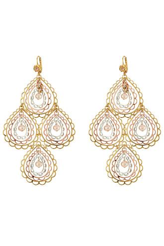 earrings gold silver pink jewels