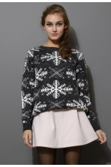 Snowflake Pattern Knit Sweater in Grey - Retro, Indie and Unique Fashion