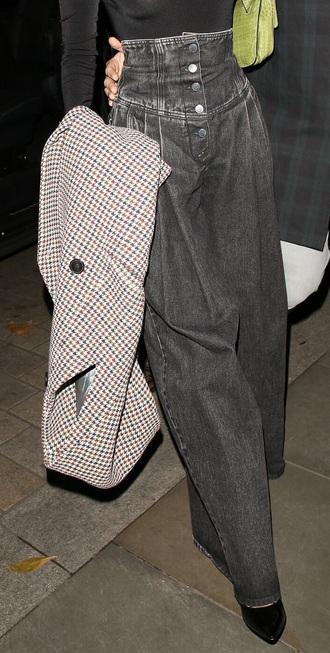 jeans bella hadid culottes high waisted denim corset