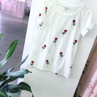 t-shirt yeah bunny rose white foral boho girly