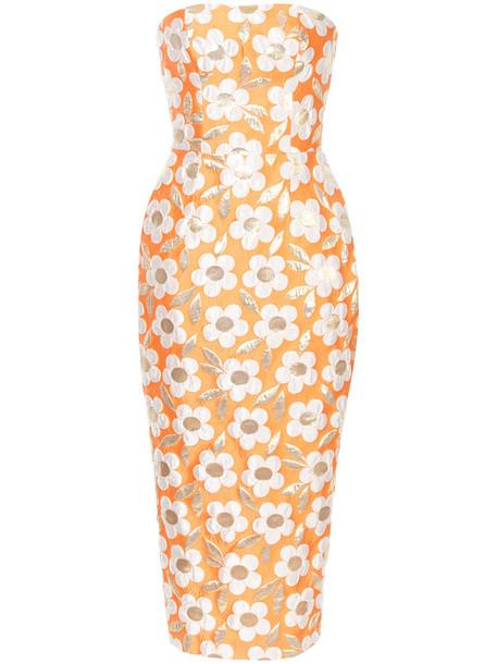 Bambah dress pencil dress women daisy print silk yellow orange