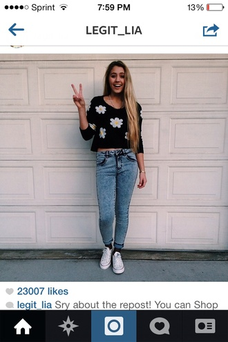 swimwear sweater lia marie johnson jeans flowers floral