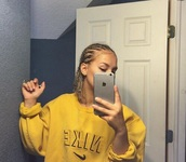 sweater,yellow,vintage,nike,oversized sweater,tumblr,yellow nike sweatshirt