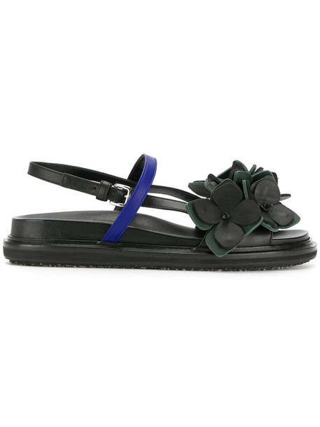 MARNI women sandals floral leather green shoes