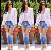 jacket,kim kardashian,neutral,jeans,blazer