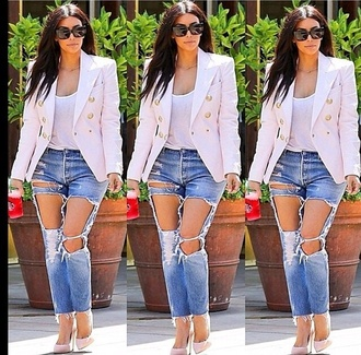 jacket kim kardashian neutral jeans blazer