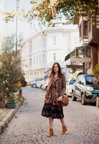 the bow-tie blogger jacket dress bag shoes fall colors fall outfits midi dress shoulder bag ankle boots