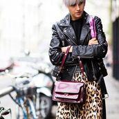 bag,animal print skirt,patent leather bag,burgundy bag,skirt,jacket,black jacket,black leather jacket,leather jacket,studded jacket,top,black top,streetstyle,embellished leather jacket,patent bag