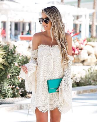 dress tumblr white dress lace dress mini dress off the shoulder off the shoulder dress bag clutch sunglasses date outfit spring date night outfit date dress