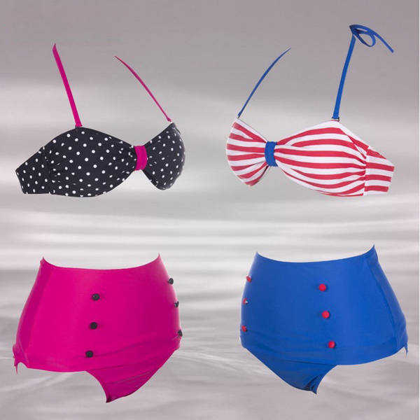 RETRO Swimsuits Suits Swimwear Vintage Bandeau HIGH WAISTED Bikini Set S M L XL-in Bikinis Set from Apparel & Accessories on Aliexpress.com
