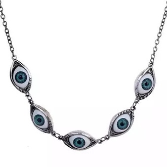 jewels jewelry necklace eye eyes eyes necklace chain goth pastel goth retro vintage punk hipster free shipping cool dark back too school hipster jewelry