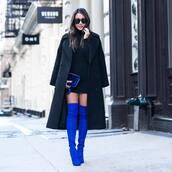coat,blue boots,tumblr,black coat,long coat,dress,mini dress,black dress,bag,blue bag,over the knee boots,thigh high boots,high heels boots,sunglasses,black long coat
