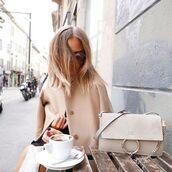 coat,camel coat,nude,chloe bag,designer bag,chain bag,shoulder bag,nude bag,all nude everything,chloe,french girl style