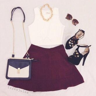 skirt top white sunglasses crop tops shoes burgundy crimson knee length necklace classy sophisticated maroon/burgundy high heels fashion