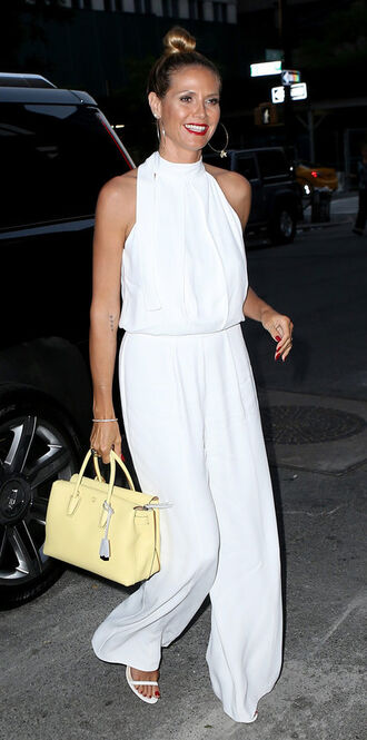 jumpsuit white sandals wide-leg pants summer outfits purse top halter top bag palazzo jumpsuit