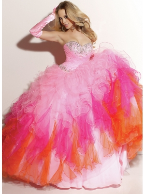 Buy Attractive and Fascinating Ball Gown Sweetheart Neckline Beadings Floor Length Organza Prom Dress under 300-SinoAnt.com