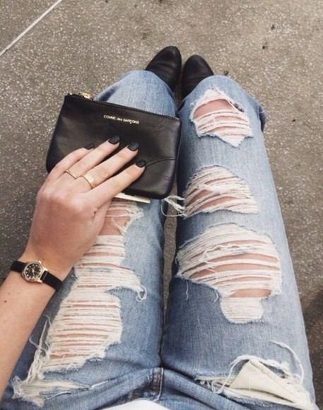 jeans denim distressed ripped frayed blue