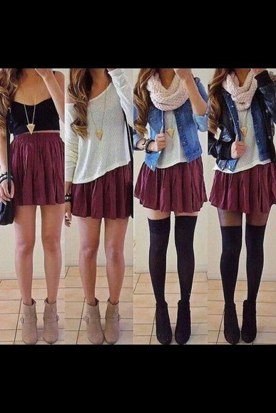 shirt bordeaux skirt courte