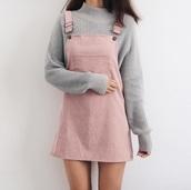 sweater,dress,pink,instagram,cutie,overalls dress,corduroy,nude,overall dress,blush pink,overalls,light pink,cute