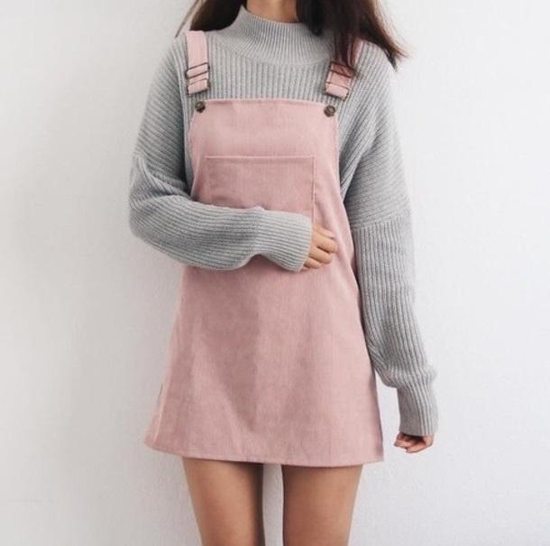 d2dd08102426 sweater, dress, pink, instagram, cutie, overalls dress, corduroy ...